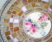 Camille Broken China Mosaic Tray elegant pink roses caramel cream gold black