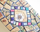 Mosaic Box tabletop dresser pastel florals herbs peach periwinkle blue sage green