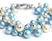 Robins Egg Blue and Ivory Pearl Cluster Bracelet, Something Blue, Blue Wedding Jewelry, Bridesmaid Bracelet, Everyday Wear, Custom Colors