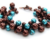 RESERVED - Dark Chocolate Brown and Turquoise Pearl Cluster Bracelet and Earrings