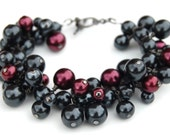 Black and Burgundy Pearl Cluster Bracelet, Winter Wedding Accessory, Christmas Gift for Her, Bridesmaid Bracelet, Evening Wear