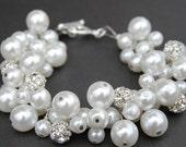 Bridal Jewelry, Sparkling Wedding Pearl Bracelet, Rhinestone and White Pearl Cluster Bracelet