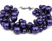 Royal Purple Pearl Cluster Bracelet, Bridesmaid Pearl Bracelet, Jewel Tones, Bridal Party, Wedding Jewelry