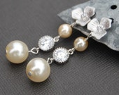 Bridal Ivory Pearl and Cubic Zirconia Floral Earrings
