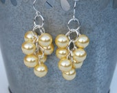 Yellow Pearl Cluster Earrings, Bridesmaid Pearl Earrings, Wedding Jewelry, Custom Colors, Pearl Drop Earrings