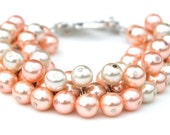 Peaches and Cream Pearl Cluster Bracelet, Pearl Bracelet, Wedding Jewelry