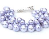 RESERVED - Lilac Pearl Cluster Bracelet