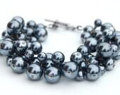 Gray Pearl Bracelet, Slate Gray Pearl Cluster Bracelet, Bridesmaid Bracelet, Evening Wear, Party Accessories