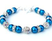 Electric Blue Pearls Rhinestone Bracelet, Bling Wedding Jewelry