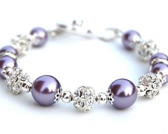 Lavender Pearl Bracelet, Bling Jewelry, Purple Bridesmaid Jewelry, Bridesmaid Gifts, Purple Wedding, Spring Wedding, Pastel Wedding