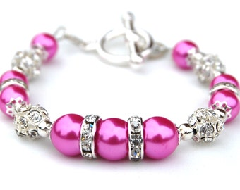 Hot Pink Pearl Sparkling Bracelet, Bridesmaid Jewelry, Bling Bracelet, Gift for Bridesmaids, Pink Bridesmaids, Pink Wedding, Spring Wedding