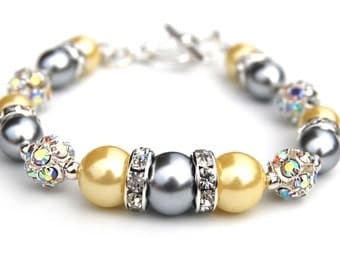 Silver and Yellow Pearl Rhinestone Bracelet, Bridesmaid Jewelry, Grey Yellow Wedding, Rhinestone and Pearl Bracelet