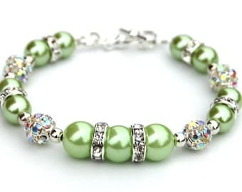 Apple Green Pearl Rhinestone Bracelet, Bridesmaid Jewelry, Bling Bracelet, Spring Wedding, Green Beaded Bracelet, Green Wedding