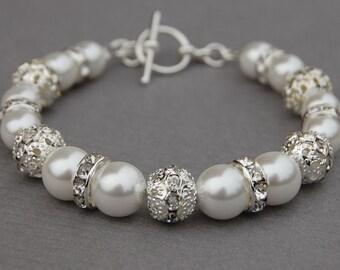 White Pearl Wedding Jewelry, Bridal White Pearl Rhinestone Bracelet, Bridesmaids Gifts, Wedding  Bracelet, Brides Jewelry, Bridal Bracelet