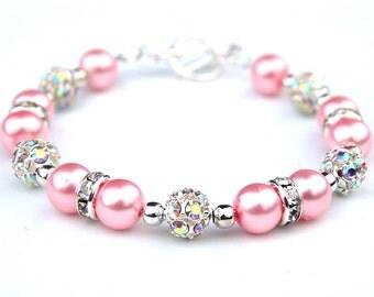 Bubblegum Pink Pearl Rhinestone Bracelet, Custom Bridesmaid Jewelry, Bling Bracelet