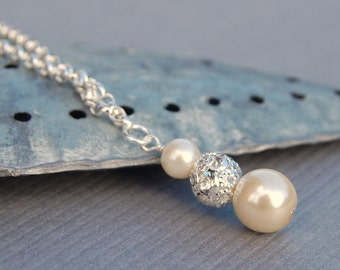 Bridal Jewelry, Pearl Necklace, Ivory Pearl Rhinestone Pendant, Wedding Jewelry, Bridesmaid Gifts, Simple Jewelry, Minimal Necklace