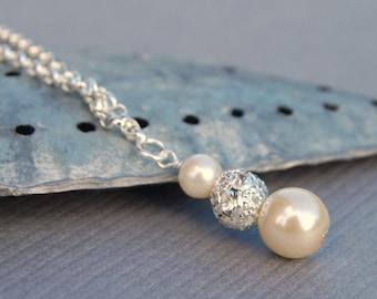 Bridal Jewelry, Pearl Necklace, Ivory Pearl Rhinestone Pendant, Wedding Jewelry, Bridesmaid Gifts, Simple Jewelry, Minimalist Necklace