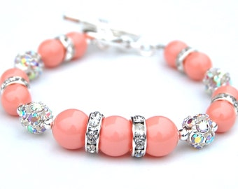 Coral Pink Pearl Rhinestone Bracelet, Bridesmaid Jewelry, Pastel Wedding, Gift for Her, Under 30, Trending Jewelry
