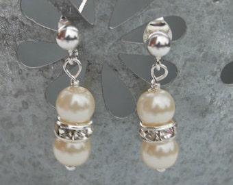 Ivory Pearl Rhinestone Earrings, Girls Pearl Earrings, Flowergirl Jewelry, Bridesmaids Earrings, Bridal Jewelry