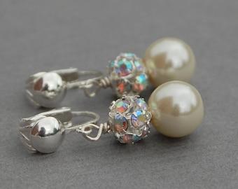 Clip On Pearl Earrings, Bridal Clip On Earrings, Pearl Rhinestone Clip On Earrings, Pearl Clip Ons, Non Pierced Earrings, Clip Earrings