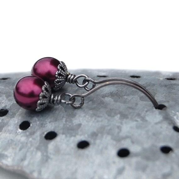 Burgundy Pearl Drop Earrings - custom colors