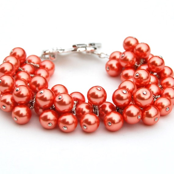 RESERVED - Coral Pearl Cluster Necklace, Bracelets and Earrings