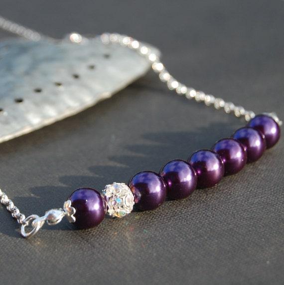 Sparkling Royal Purple Pearl Necklace, Bridesmaid Gifts, Rhinestone Jewelry, Wedding Jewlery, Evening Accessory, Custom Colors