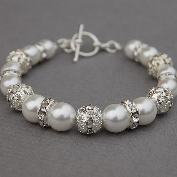 Wedding Bracelet White Pearl Bridal Jewelry Romantic Bridesmaids Gifts
