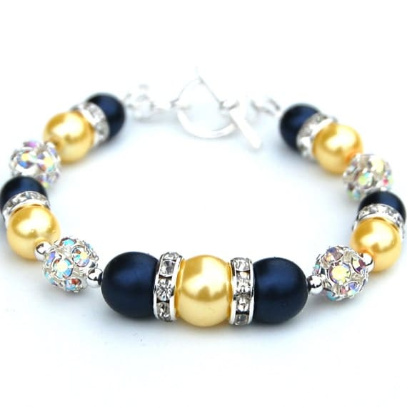 Navy and Yellow Pearl Bling Bracelet, Bridesmaid Jewelry, Spring Wedding