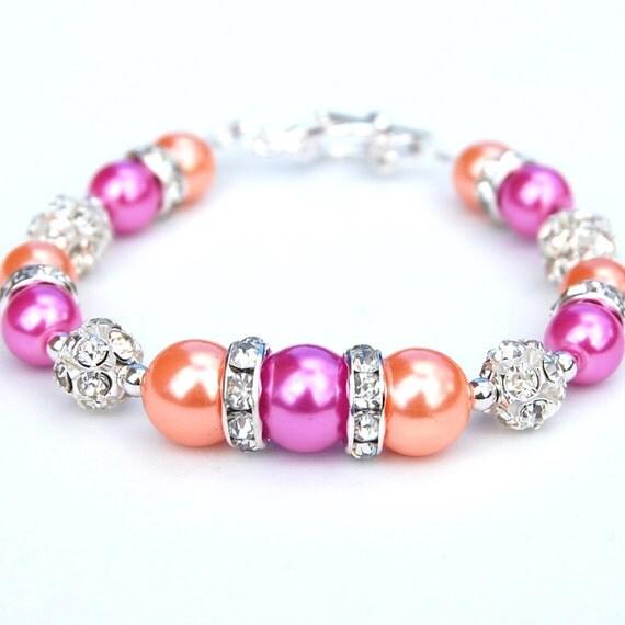 Pink Orange Bracelet, Bridesmaid Jewelry, Orange and Hot Pink Pearl Bracelet, Orange Pink Wedding, Under 30, Gift for Her, Bridesmaid Gifts