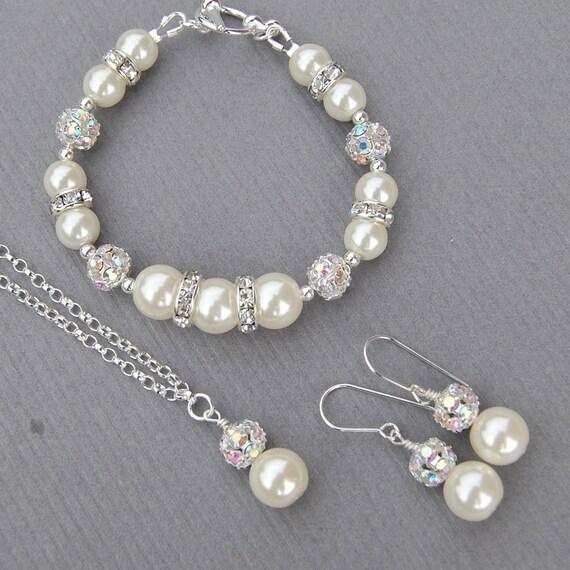Pearl Wedding Jewelry Bridal Set, Bridesmaid Jewellery Set, Bridal Party Gifts