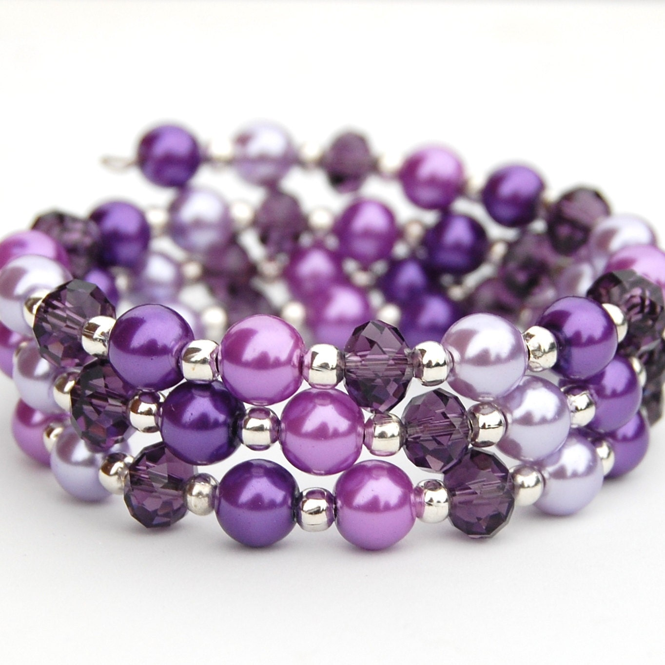 Sparkling Purple Pearl Memory Wire Bracelet Spring Accessory