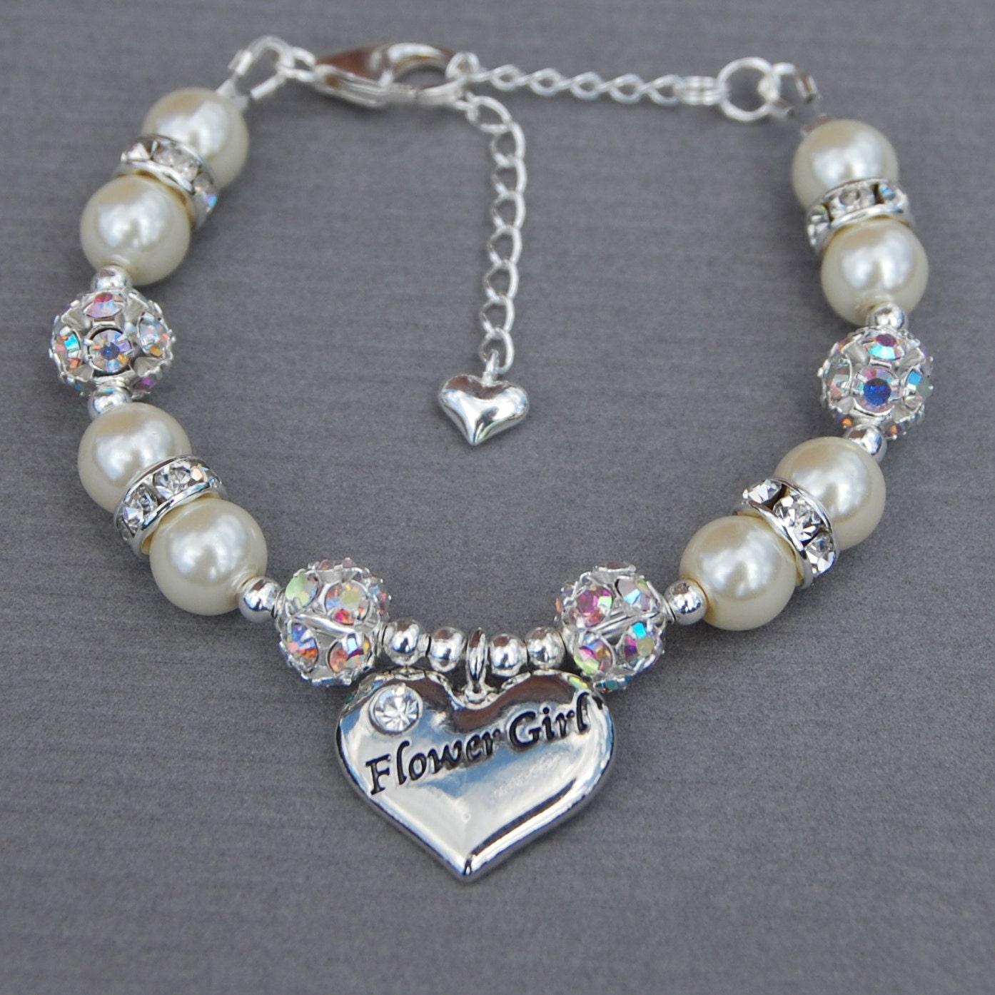 Wedding Charm Bracelet: Flower Girl Bracelet Girls Wedding Jewelry Gift For Flower