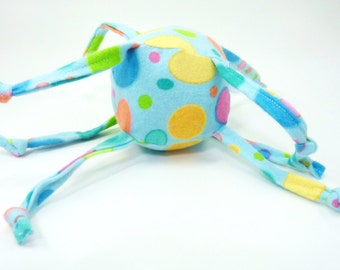 Unique Baby toy - Soft ball with strings - Colorful Spots on Aqua