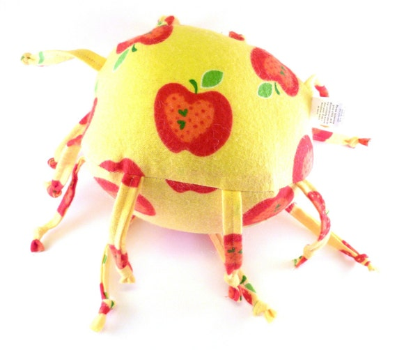 Unique handmade baby toy - Red Apples on Yellow