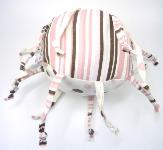 Unique handmade baby toy - Pink OR Blue with Brown Dots and Stripes - Personalization Available