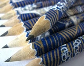 S A L E mini washi-wrapped japanese pencils - set of 10 - tsunami