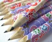 S A L E mini washi-wrapped japanese pencils - set of 10 - kawaii surprise