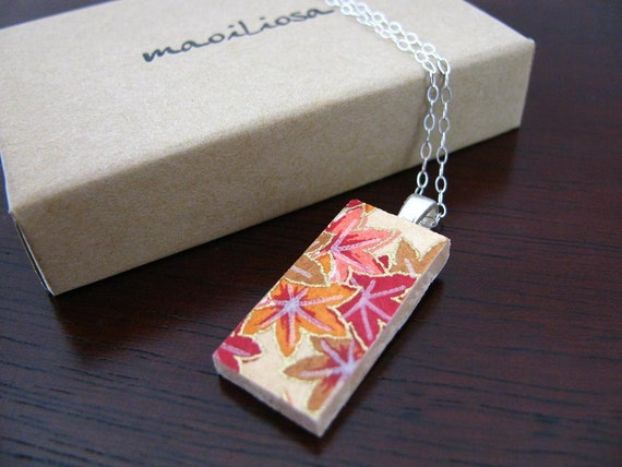 wooden japanese chiyogami pendant on a silver-plated chain - small - crisp