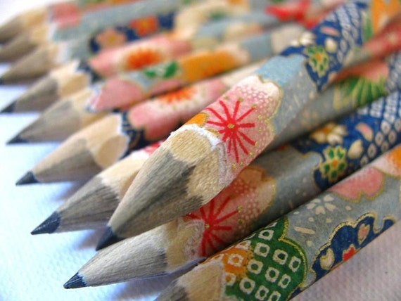 S A L E mini pencils made with japanese paper - set of 10 - patchwork sakura