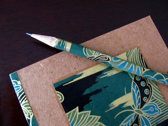 earth-friendly japanese journal - notebook and pencil set - mysterious garden