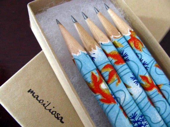 koi fish washi-wrapped japanese pencils - set of 5 - in the fishbowl