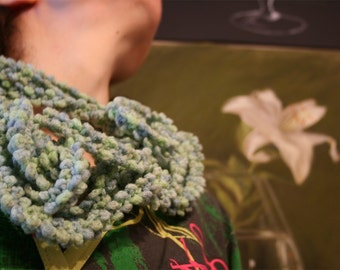 GreenSeaweed whimsical fiber art infinity scarf in shades of green and gray blue