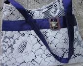 SALE--65% OFF  Recycled Vintage Quaker Lace Purse