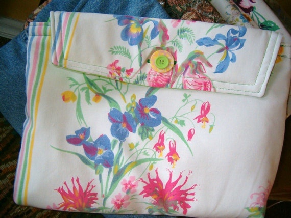 RESERVED FOR TAMAR'  Upcycyled Laptop Sleeve with Flowers