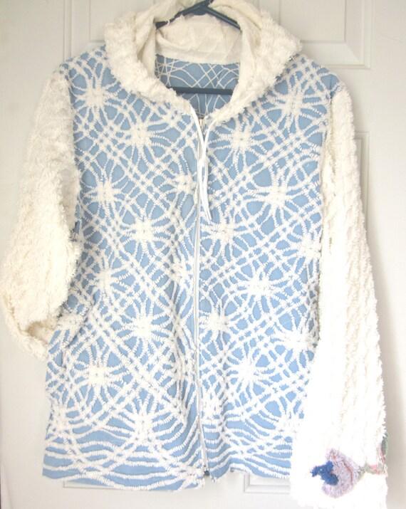 Recycled Vintage Chenille Jacket/Hoodie--HALF PRICE SALE