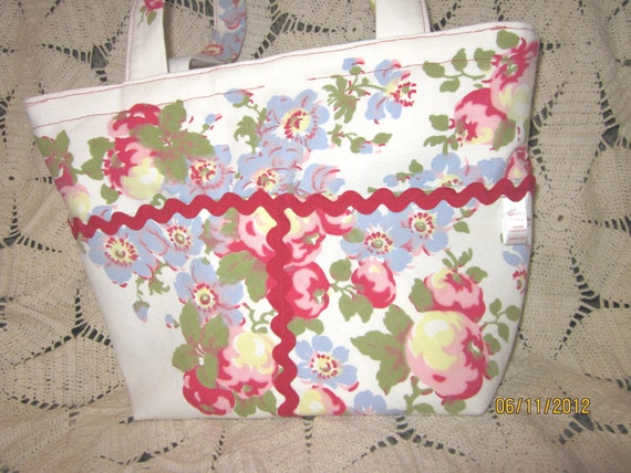 SALE--65% OFF  Recycled Tote, Diaper Bag, Purse from Vintage Tablecloths