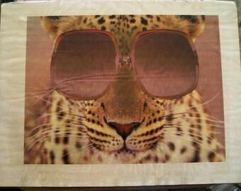 Digital PRINT on Cardboard to Hang on Wall, Leopard, Grochacha, With Glasses by Laszlo Bolender