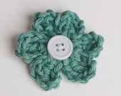 Green Wishing for Spring crochet Flower hair clip