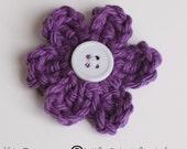 Purple Wishing for Spring crochet Flower hair clip